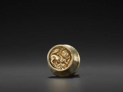 Lot 42-AN EXTREMELY RARE CHAM GOLD BETEL NUT CONTAINER WITH REPOUSSÉ TIGER MARK, EX-COLLECTION BAO DAI
