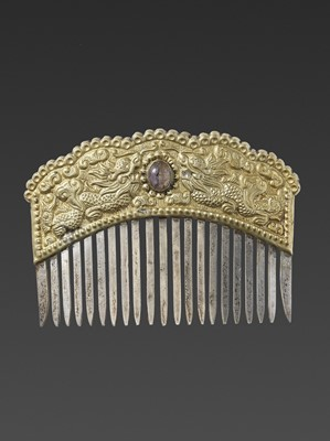 Lot 47-A VIETNAMESE GEMSTONE-SET GOLD REPOUSSÉ AND SILVER HAIR COMB WITH DRAGONS