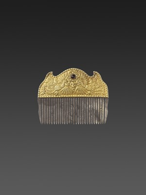 Lot 48-A VIETNAMESE GEMSTONE-SET GOLD REPOUSSÉ AND SILVER HAIR COMB WITH PHOENIXES