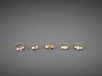 Lot 53-FIVE BACTRIAN GOLD EARRINGS WITH PEARLS AND GEMSTONES