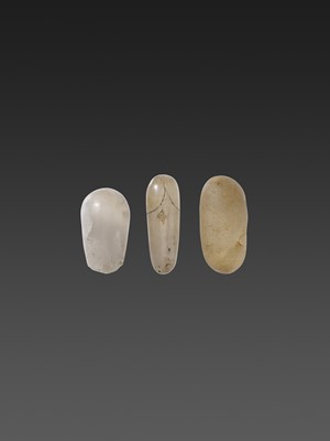 THREE KHMER EMPIRE ROCK CRYSTAL LINGAMS