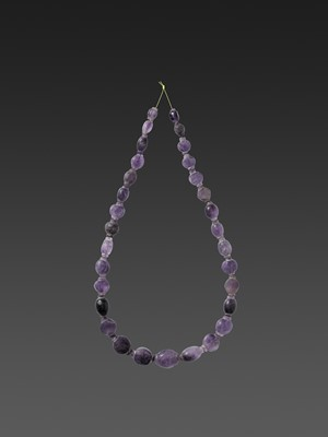 A SAMON VALLEY OR EARLY PYU NECKLACE WITH AMETHYST BEADS