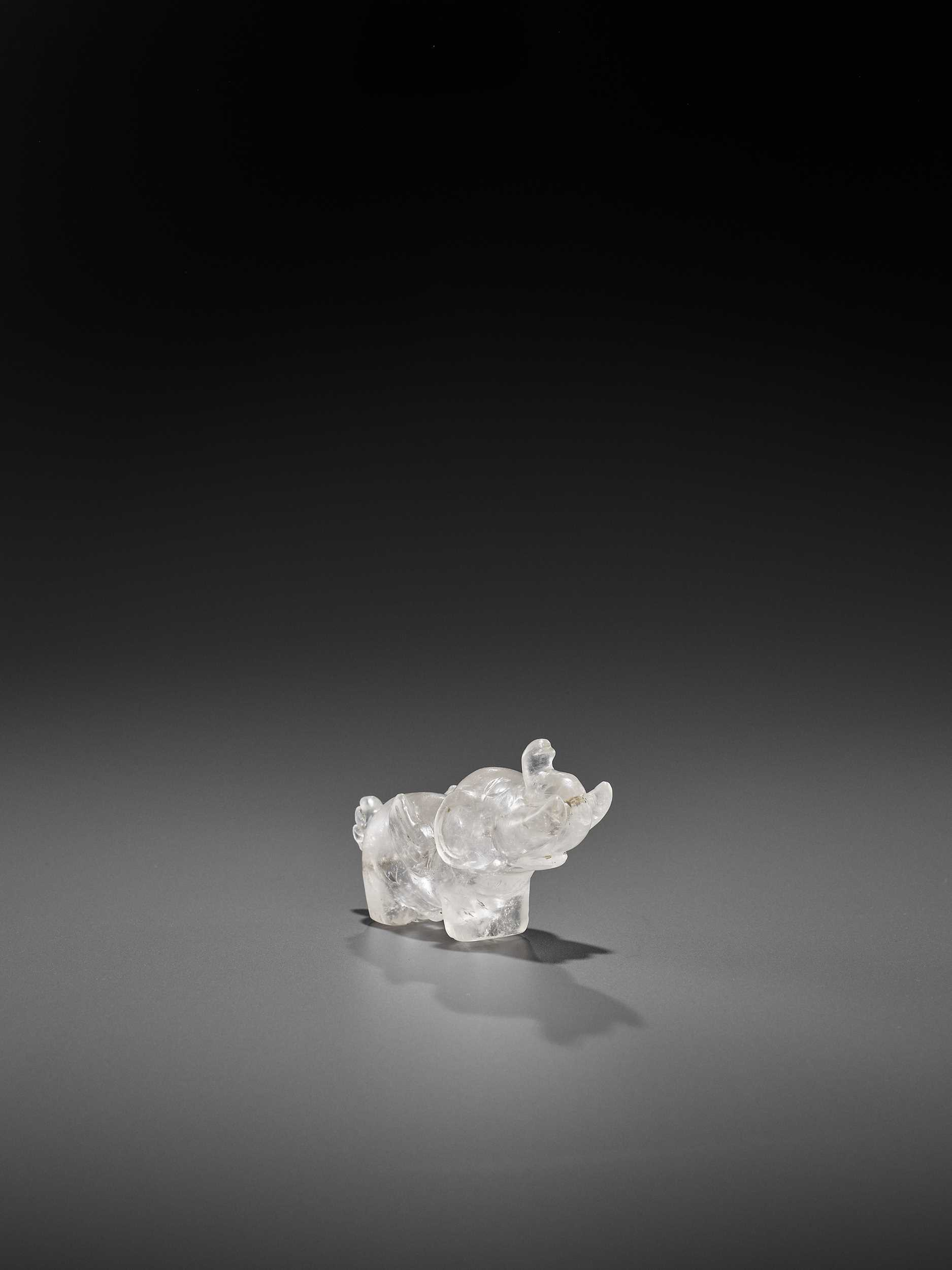 A RARE AND EXCEPTIONAL PYU ROCK CRYSTAL TALISMAN DEPICTING A MYTHICAL WAR ELEPHANT