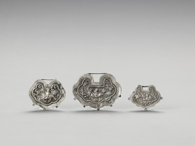 THREE SILVER LOCK CHARMS, LATE QING