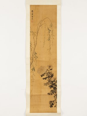 A HANGING SCROLL 'CHRSANTHEMUM AND WILLOW' PAINTING, QING