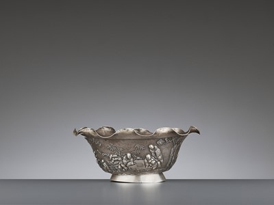 Lot 11 - A SILVER REPOUSSE 'WEIQI PLAYERS' BOWL BY KWONG MAN SHING