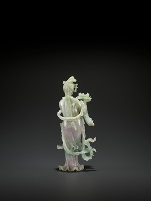 Lot 107 - A 'SANDUO' LAVENDER JADEITE FIGURE OF A MEIREN, LATE QING TO REPUBLIC