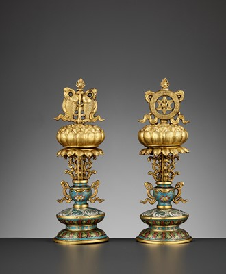 Lot 6 - TWO BUDDHIST EMBLEMS, CLOISONNÉ ENAMEL AND GILT-BRONZE, QIANLONG PERIOD
