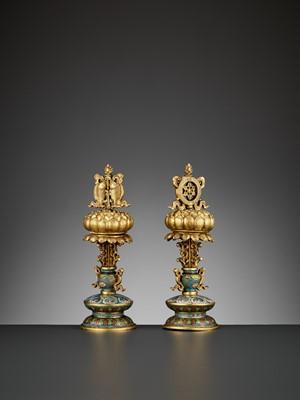 Lot 6 - TWO BUDDHIST EMBLEMS, CLOISONNÉ ENAMEL AND GILT-BRONZE, QIANLONG PERIOD
