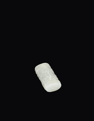 Lot 99 - A WHITE JADE 'PINE TREE' BEAD, QING DYNASTY
