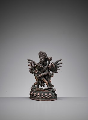 Lot 45 - A SILVER-INLAID BRONZE FIGURE OF HERUKA AND CONSORT, QING