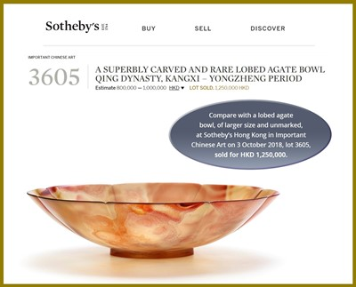 Lot 35 - A TRANSLUCENT BANDED AGATE BOWL, QING DYNASTY