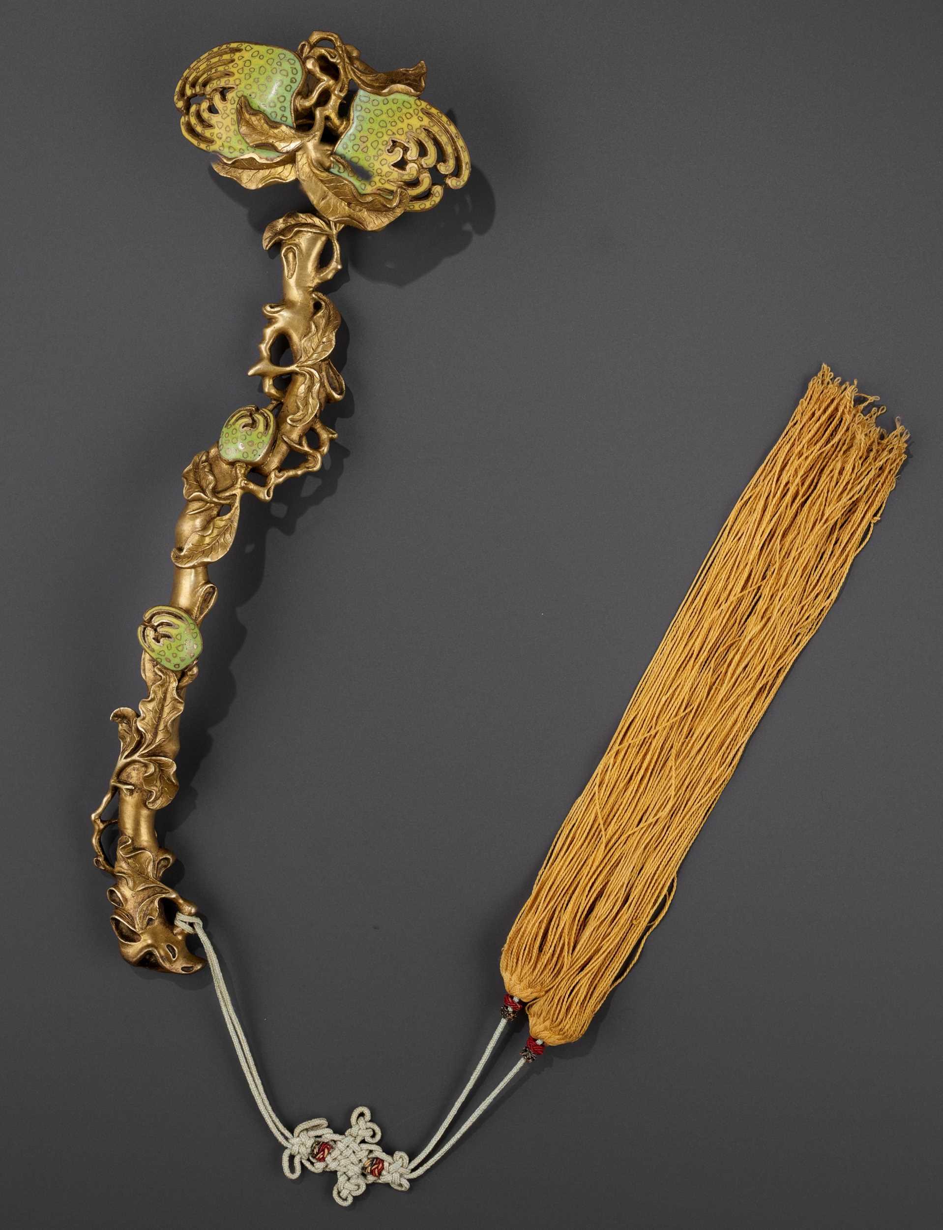 Lot 7 - A CHAMPLEVÉ ENAMEL 'BUDDHA'S HAND' RUYI SCEPTER, QING DYNASTY