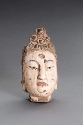 A CARVED POLYCHROME WOOD HEAD OF GUANYIN
