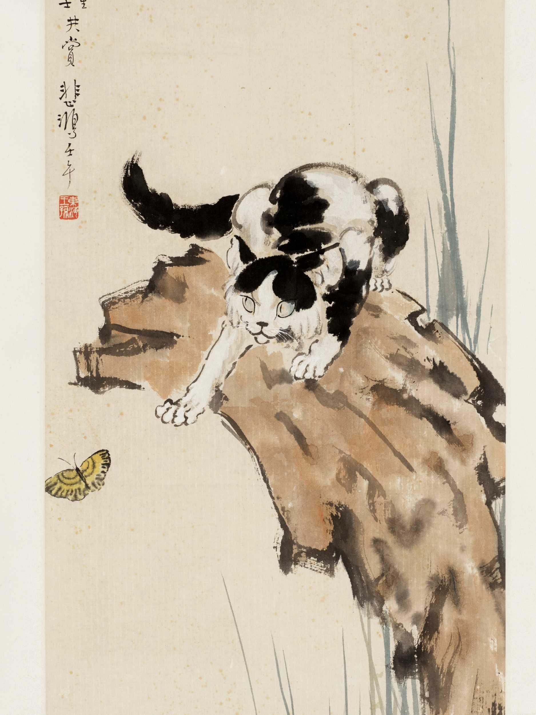 Lot 668 - 'CAT AND BUTTERFLY', LINGMAO XIDIE, BY XU BEIHONG (1895-1953)