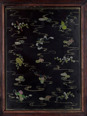 Lot 44 - A HARDSTONE AND JADE-INLAID ZITAN TABLE SCREEN, QING
