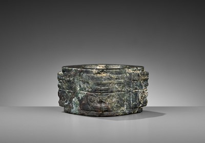 Lot 50 - A MOTTLED GREEN JADE CONG, LIANGZHU CULTURE