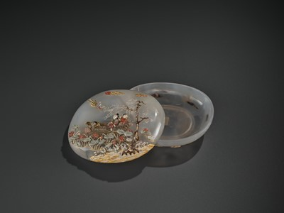 Lot 43 - AN EMBELLISHED 'PICKING LOTUS' AGATE BOX, QING DYNASTY