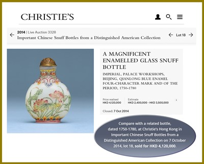 Lot 390 - AN IMPERIAL ENAMELED WHITE GLASS 'BOYS' SNUFF BOTTLE, QIANLONG MARK AND PERIOD