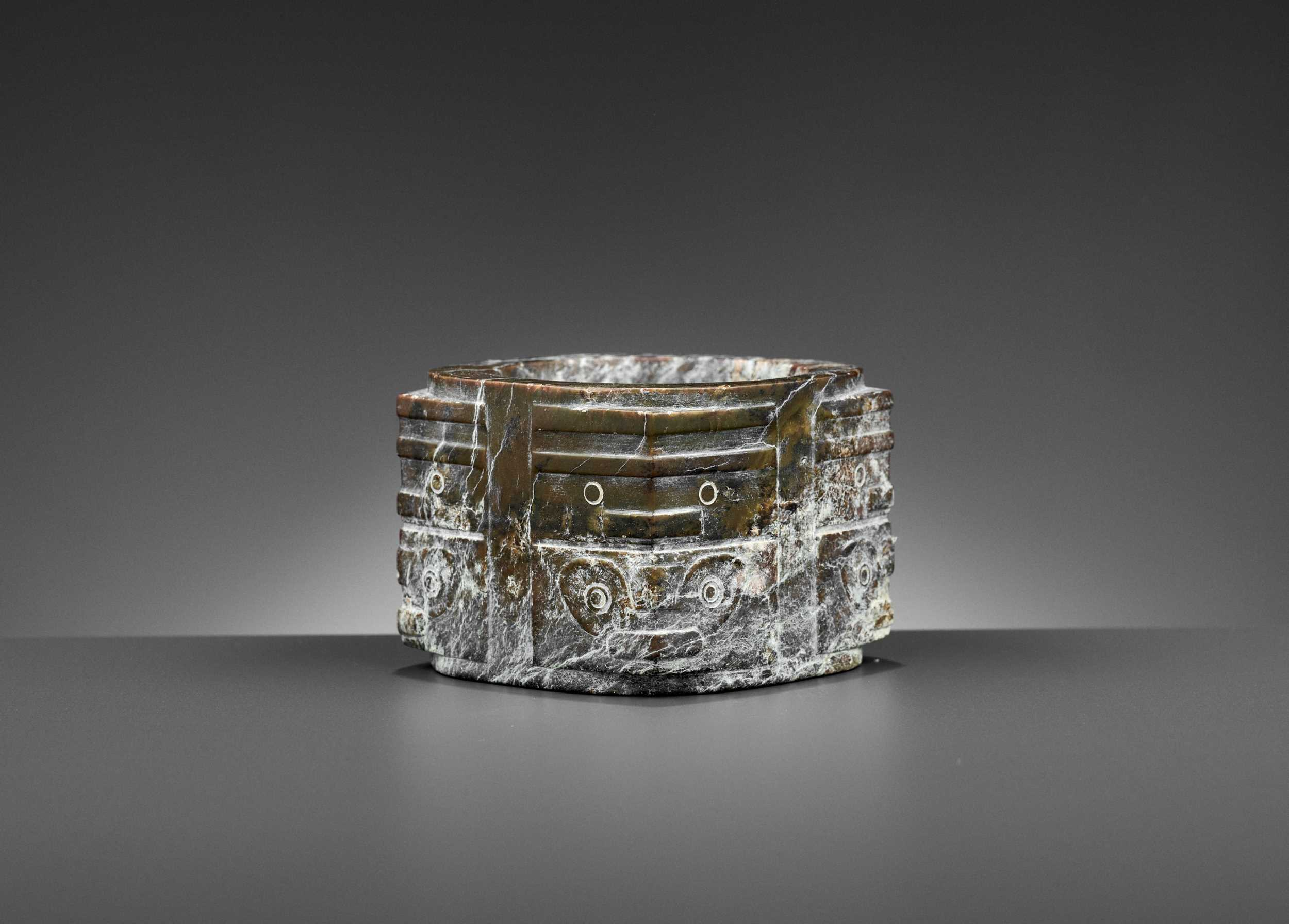 Lot 53 - A BROWN JADE CONG, LIANGZHU CULTURE