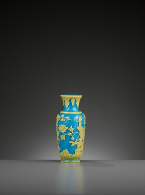 Lot 17 - A YELLOW OVERLAY TURQUOISE GLASS VASE, TONGZHI MARK AND PERIOD