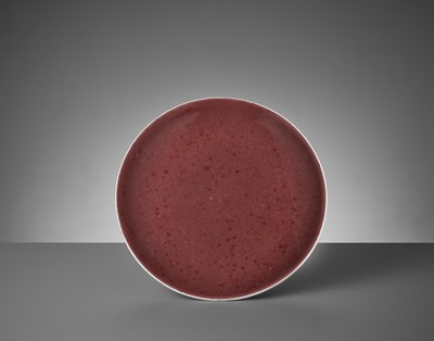Lot 394 - A COPPER-RED GLAZED DISH, DAOGUANG MARK AND PERIOD