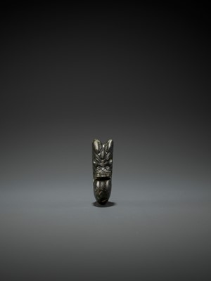 Lot 51 - A DARK-GREEN JADE 'PIG-DRAGON' CARVING, ZHULONG, HONGSHAN CULTURE, C. 4000-3000 BC