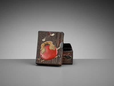 Lot 95 - OGAWA HARITSU (RITSUO): A SMALL CERAMIC AND LACQUER INLAID KIRI WOOD BOX AND COVER WITH BUDDHIST OBJECTS