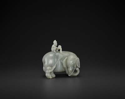 Lot 71 - A CELADON JADE 'WASHING THE ELEPHANT' CARVING, QING