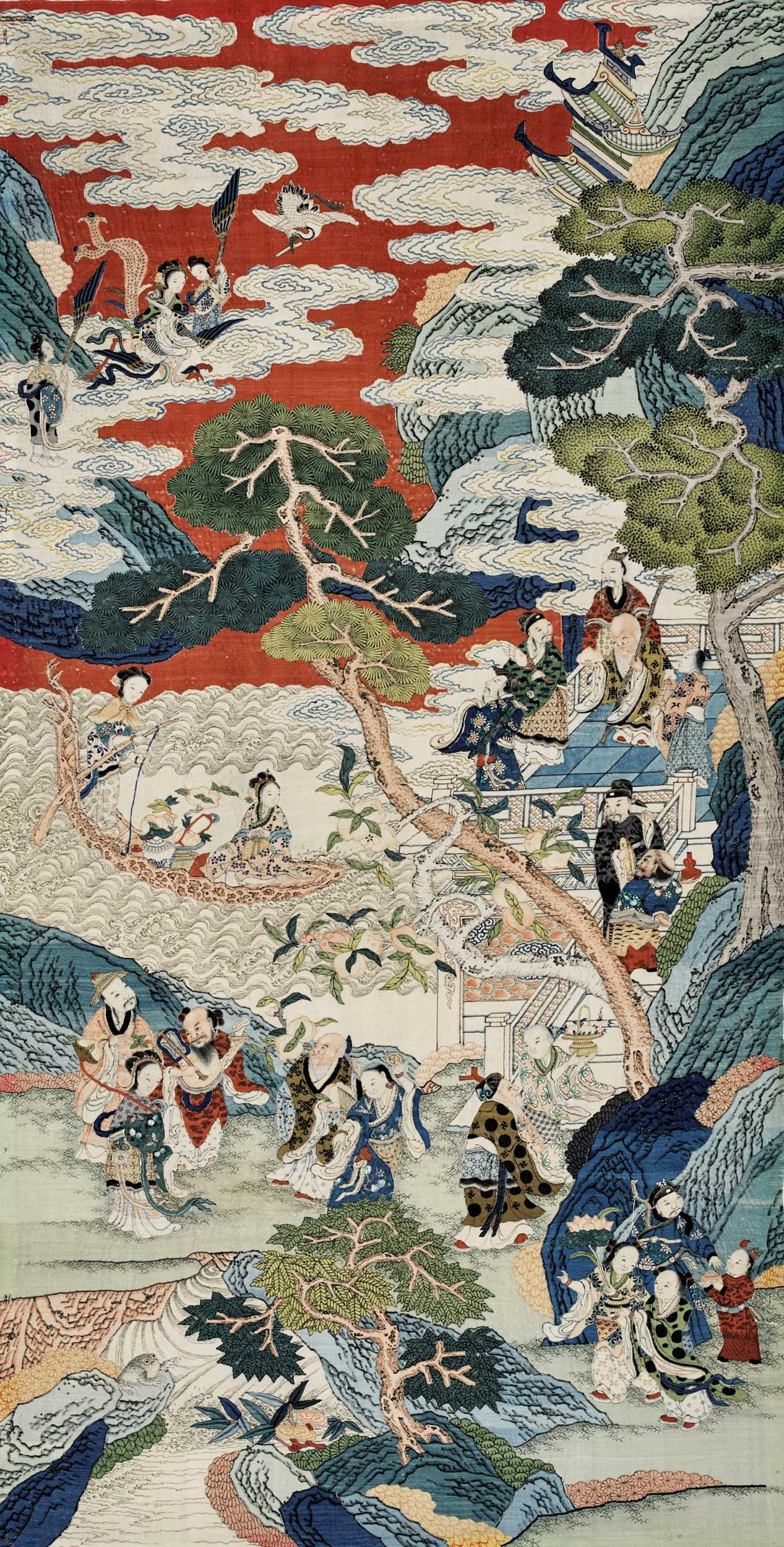 614 - AN IMPORTANT AND LARGE KESI 'PEACH FESTIVAL' PANEL, QING DYNASTY