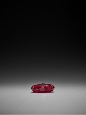 Lot 256 - A TRANSPARENT RUBY RED GLASS SNUFF BOTTLE, QING DYNASTY