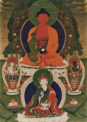 Lot 445 - A THANGKA OF BUDDHA AMITABHA, 18TH CENTURY