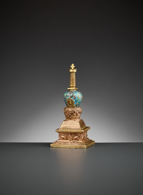 Lot 5 - A GILT-BRONZE AND CLOISONNÉ ENAMEL STUPA, QIANLONG