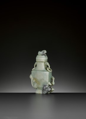 Lot 73 - A CELADON AND GREY JADE BALUSTER VASE AND COVER, QING DYNASTY