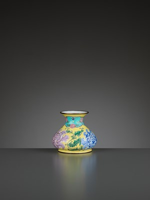 Lot 8 - A BEIJING ENAMEL ON COPPER 'PEONIES' WATER POT, QIANLONG MARK AND PERIOD