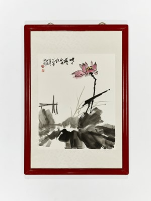 Lot 471 - A PAINTING OF A LOTUS FLOWER, DATED 1987