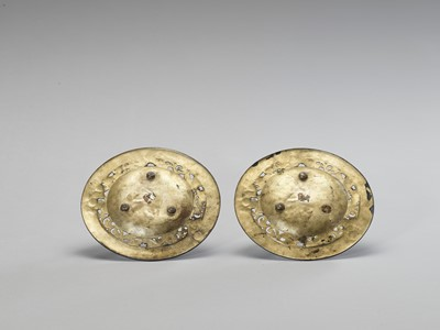 Lot 8 - TWO IMPRESSIVE GILT METAL PLATES WITH BENTEN AND DRAGON