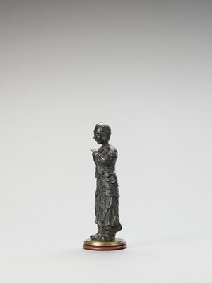 Lot 40 - A BRONZE FIGURE OF A LUOHAN, MING