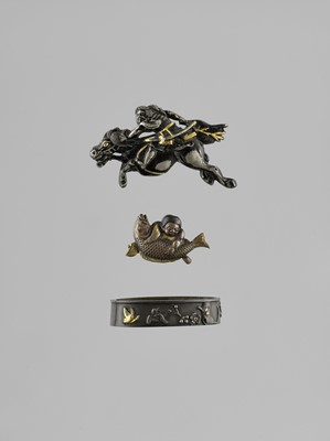 Lot 49 - THREE MIXED METAL MINIATURE OBJECTS