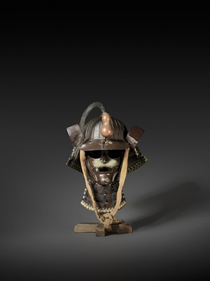 Lot 61 - AN IRON KABUTO AND MENPO