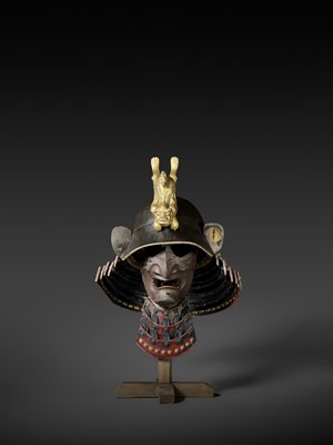 Lot 62 - A PRESENTATIONAL LACQUERED WOOD KABUTO AND MENPO