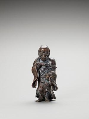 Lot 191 - MATSUMOTO FUSHO: A LACQUERED WOOD OKIMONO OF GAMA SENNIN