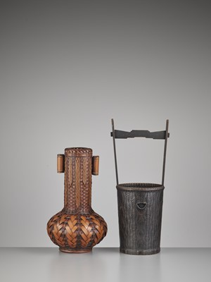 Lot 78 - TWO IKEBANA WOVEN BAMBOO BASKETS