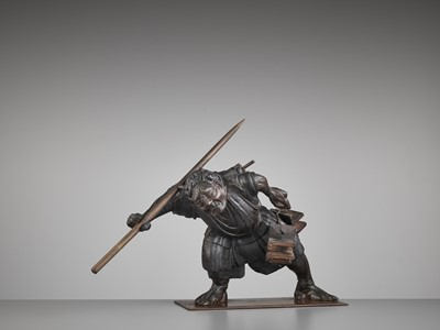 Lot 85 - A LACQUERED WOOD OKIMONO OF AN ONI