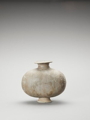 Lot 597 - A GREY POTTERY 'COCOON' JAR, HAN