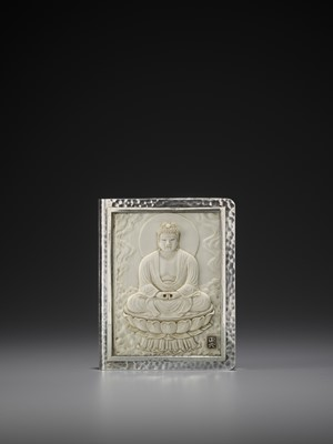 Lot 96 - A SILVER AND IVORY 'BUDDHA' CIGARETTE CASE