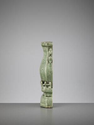 A CARVED LONGQUAN WALL VASE, MING