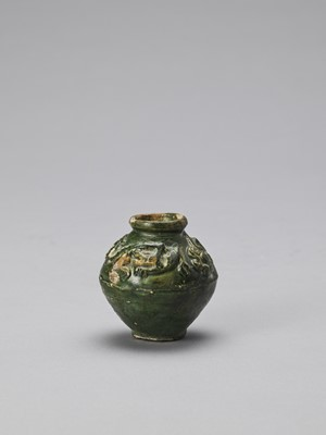 Lot 600 - AN EMERALD GREEN-GLAZED CERAMIC MINIATURE VESSEL, TANG