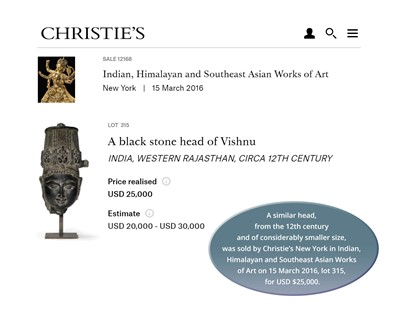 Lot 1208 - A MASSIVE AND HEAVY INDIAN BLACK STONE HEAD OF VISHNU