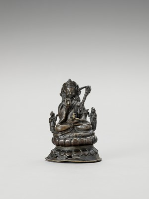 Lot 563 - A NEPALESE BRONZE FIGURE OF PADMASAMBHAVA